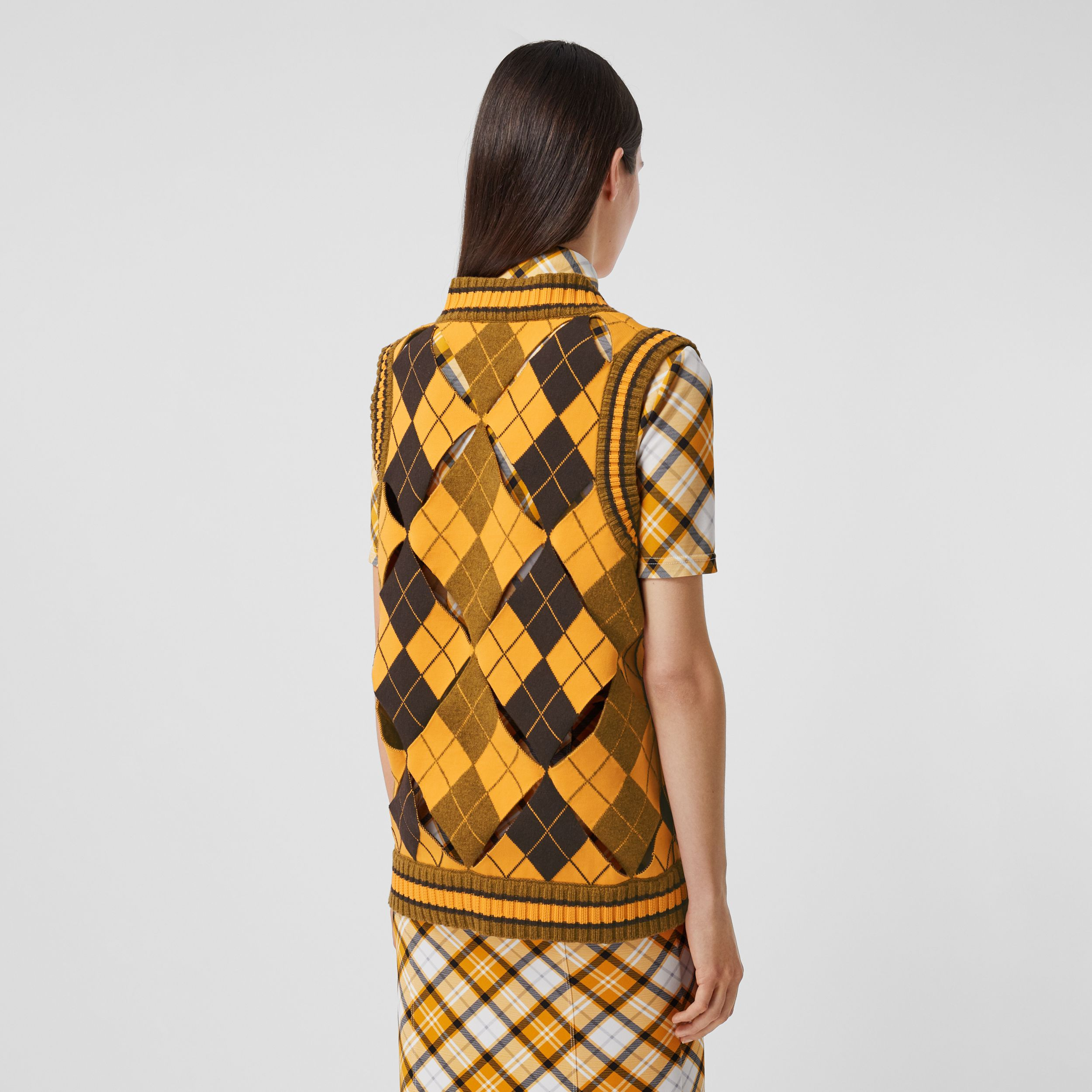 Cut-out Detail Argyle Technical Wool Jacquard Vest in Bright Orange - Women | Burberry - 3