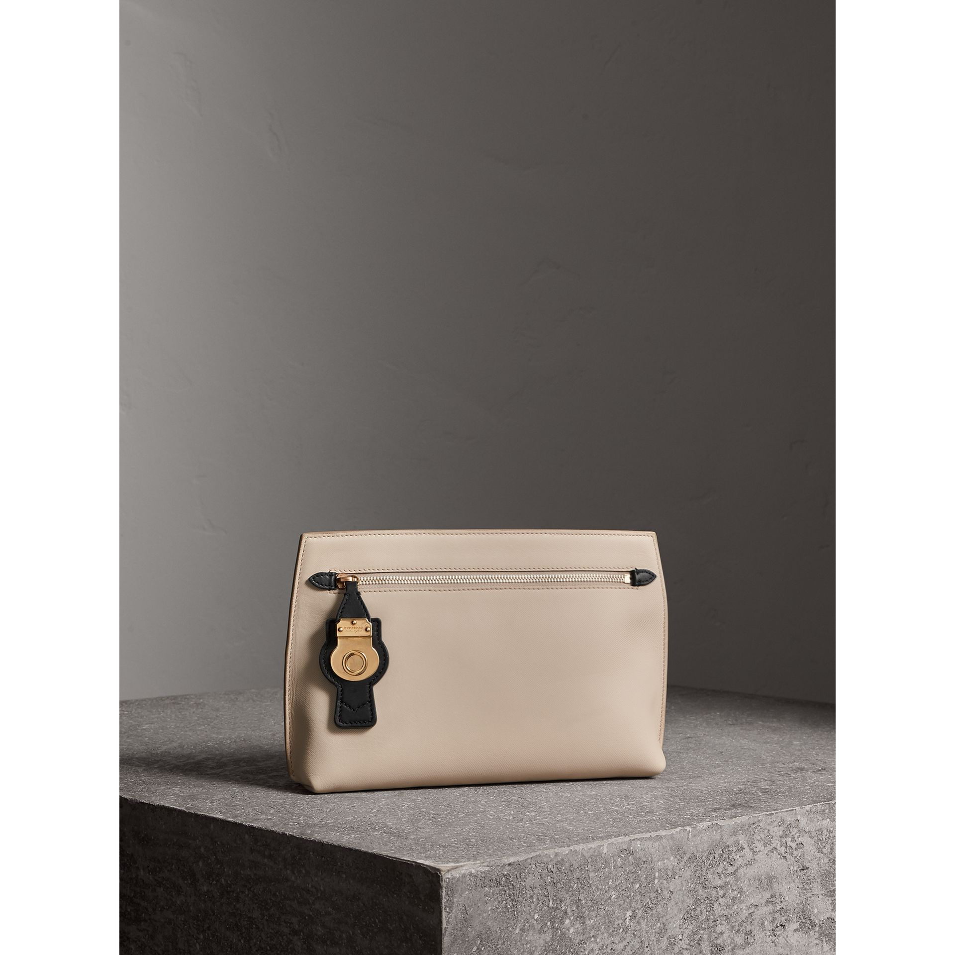 Two-tone Trench Leather Wristlet Pouch in Limestone/black - Women | Burberry - gallery image 5