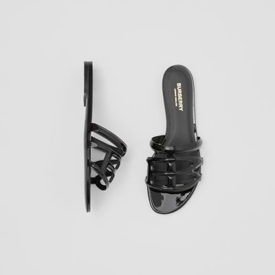 Monogram Motif Patent Leather Sandals by Burberry