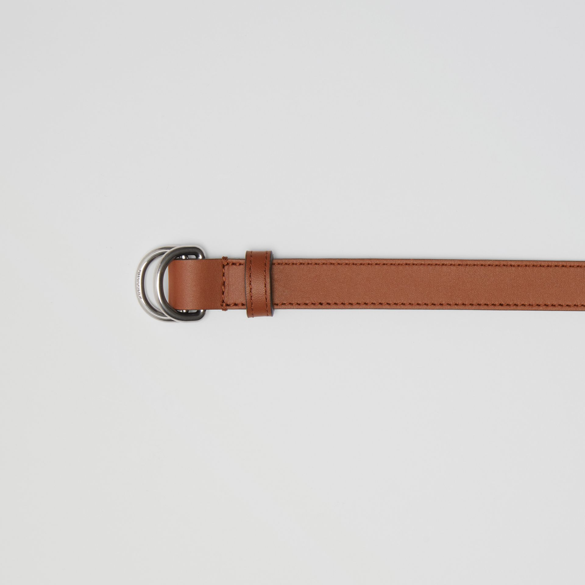 Slim Leather Double D-ring Belt in Tan/natural Silver - Women | Burberry Singapore - gallery image 1