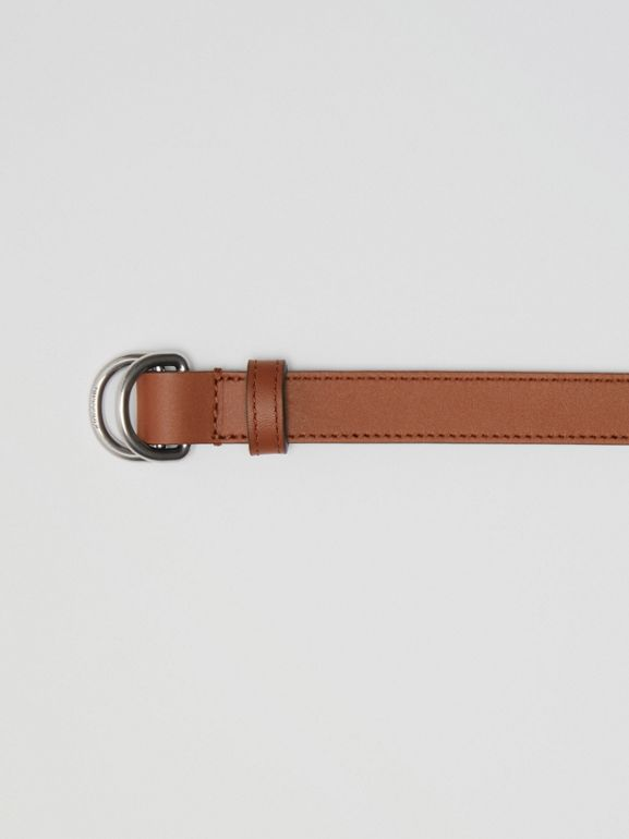 Slim Leather Double D-ring Belt in Tan/natural Silver - Women | Burberry Singapore - cell image 1