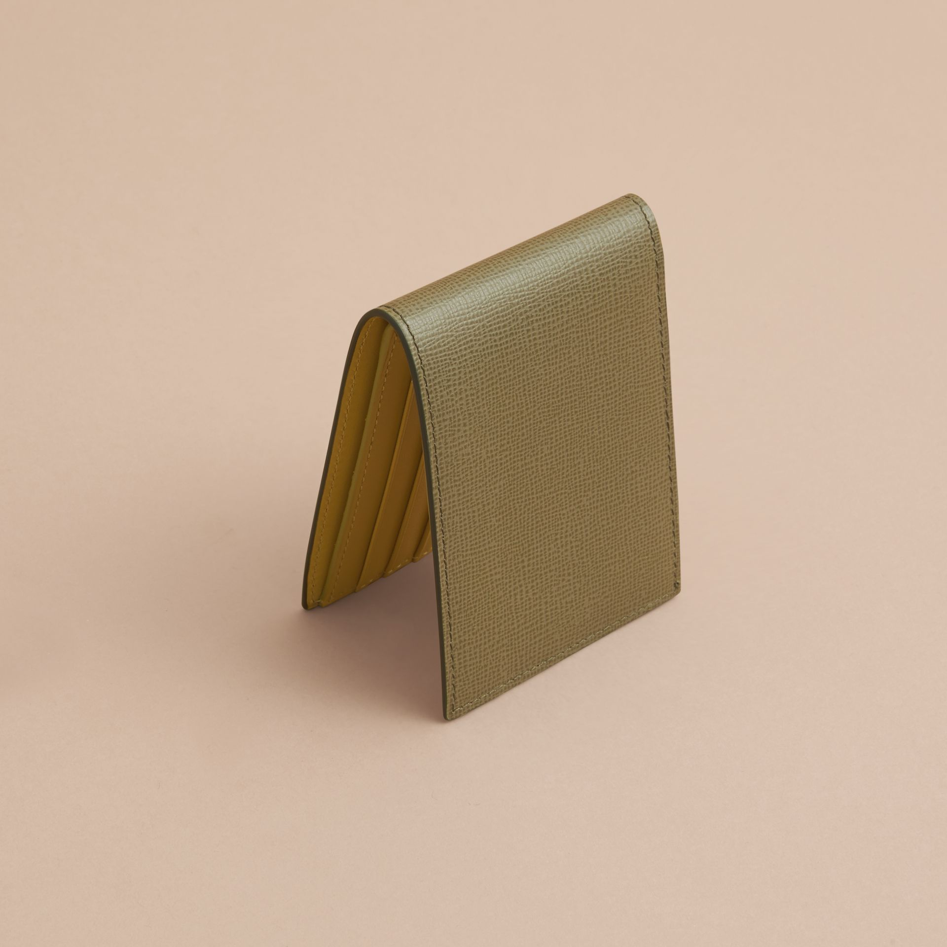 London Leather Slim Folding Wallet in Olive Green | Burberry - gallery image 3