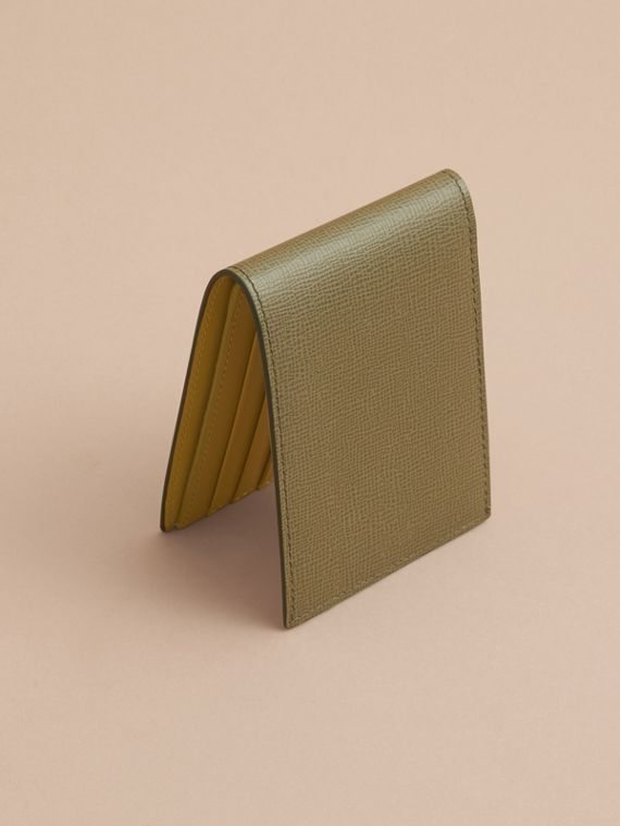 London Leather Slim Folding Wallet in Olive Green | Burberry - cell image 2