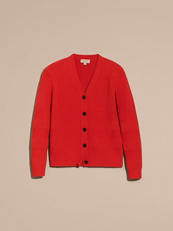 Check-knit Wool Cashmere Cardigan in Bright Military Red - cell image 3