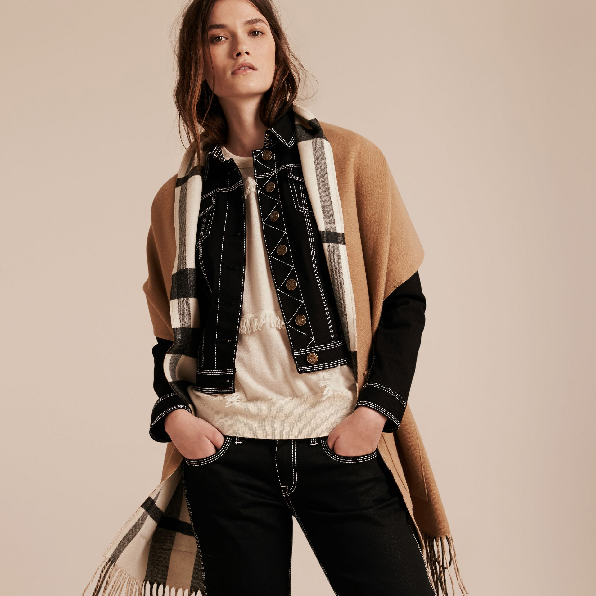 Check Lined Wool Cashmere Stole in Ivory - Women | Burberry - gallery image 1