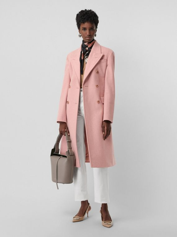 Double-breasted Wool Tailored Coat in Apricot Pink Melange