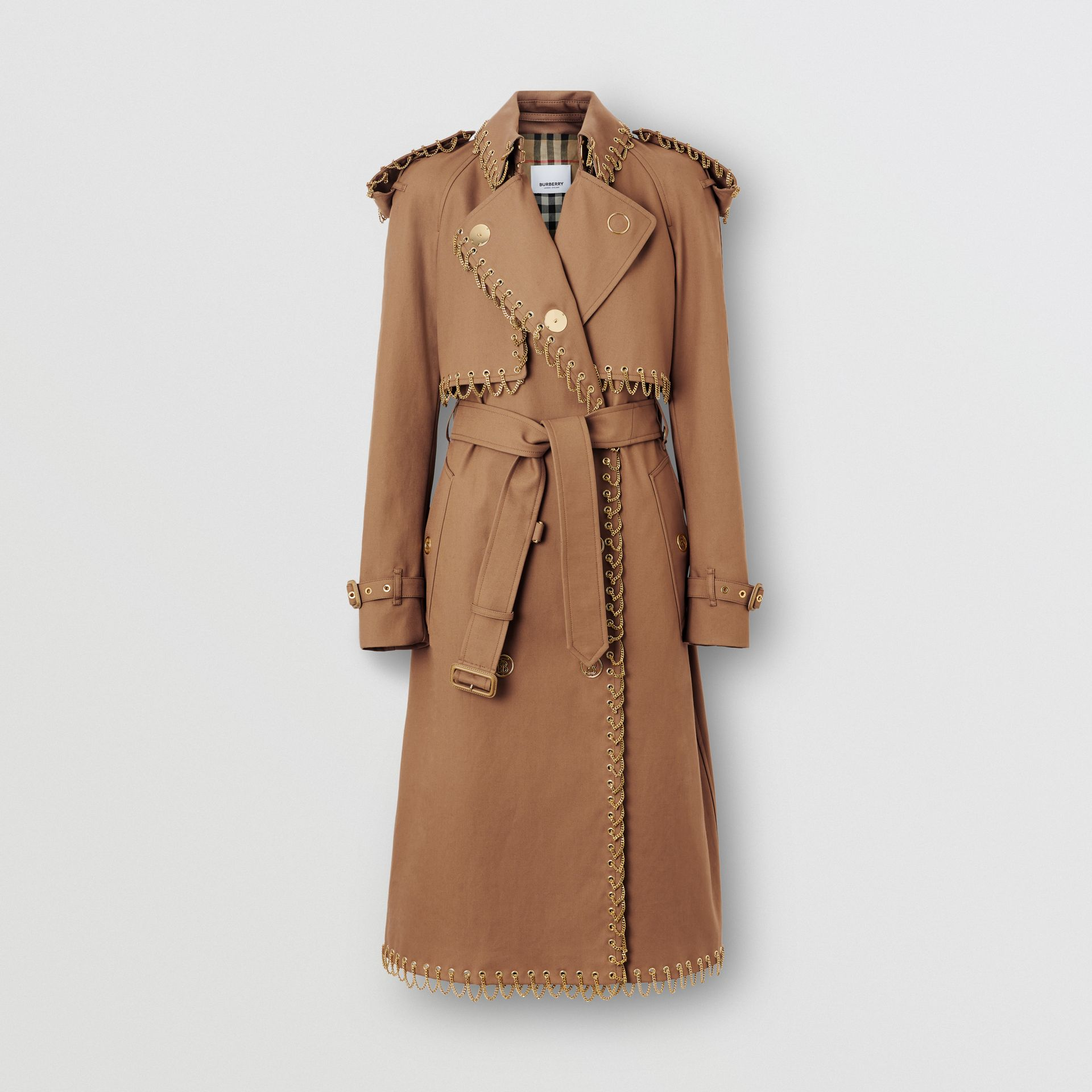 Chain Detail Cotton Gabardine Trench Coat in Warm Walnut - Women | Burberry Singapore - gallery image 3