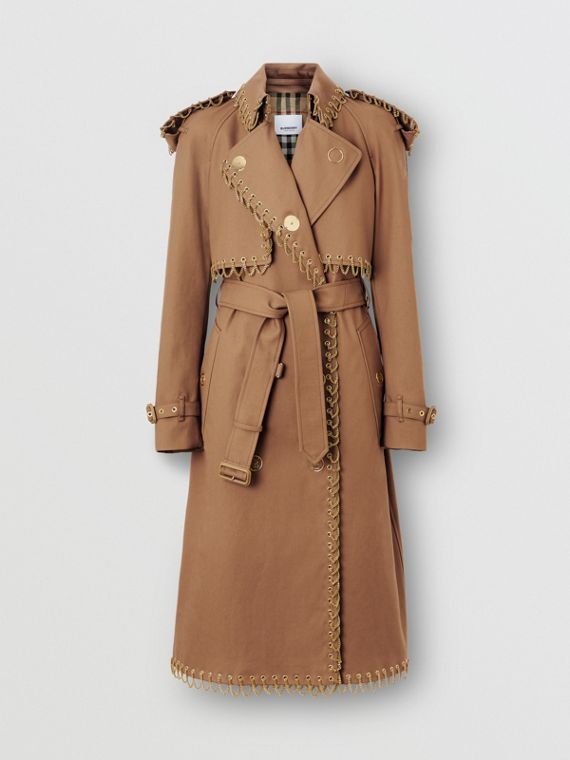 Chain Detail Cotton Gabardine Trench Coat in Warm Walnut