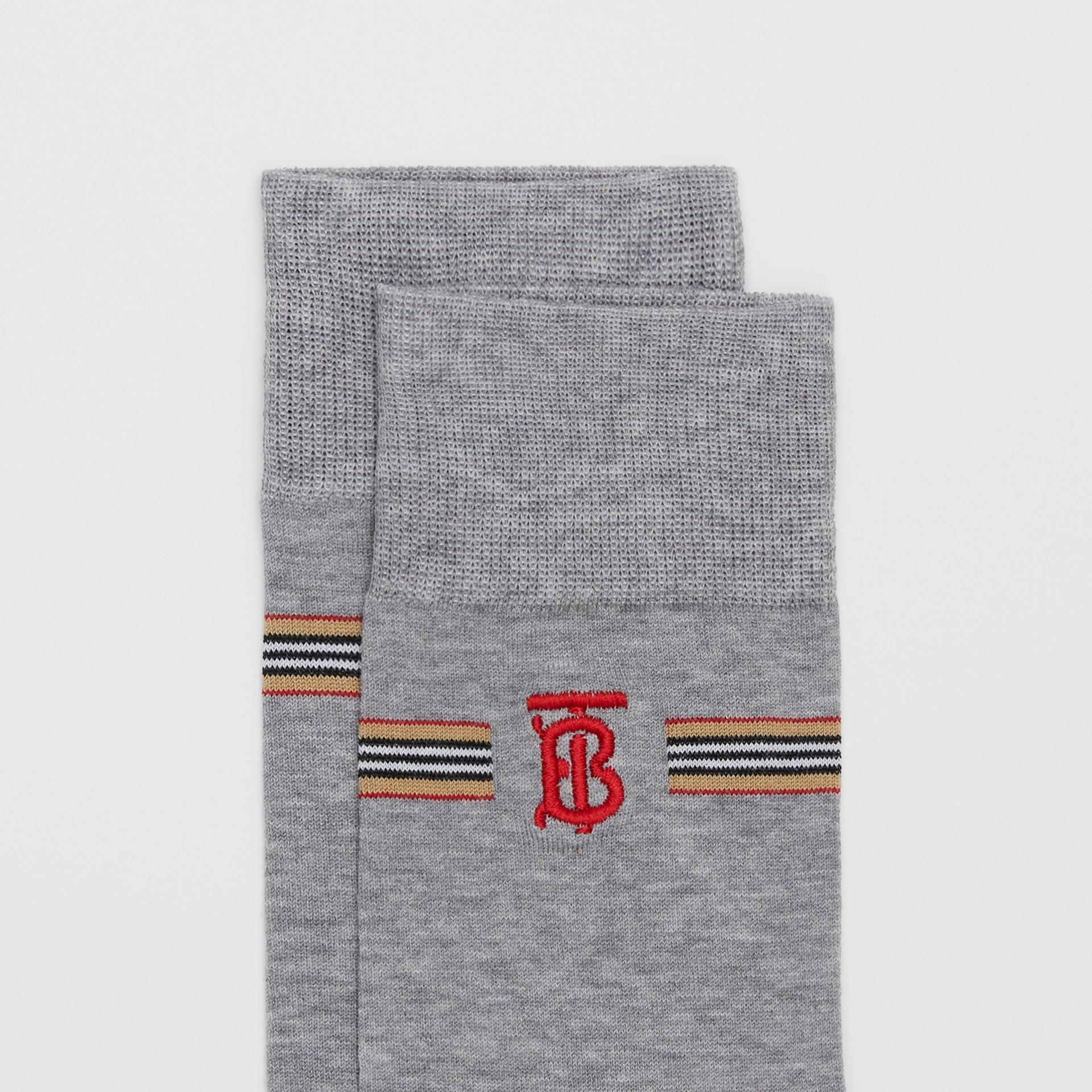 Icon Stripe and Monogram Motif Cotton Blend Socks in Grey Melange   Burberry United Kingdom - gallery image 1