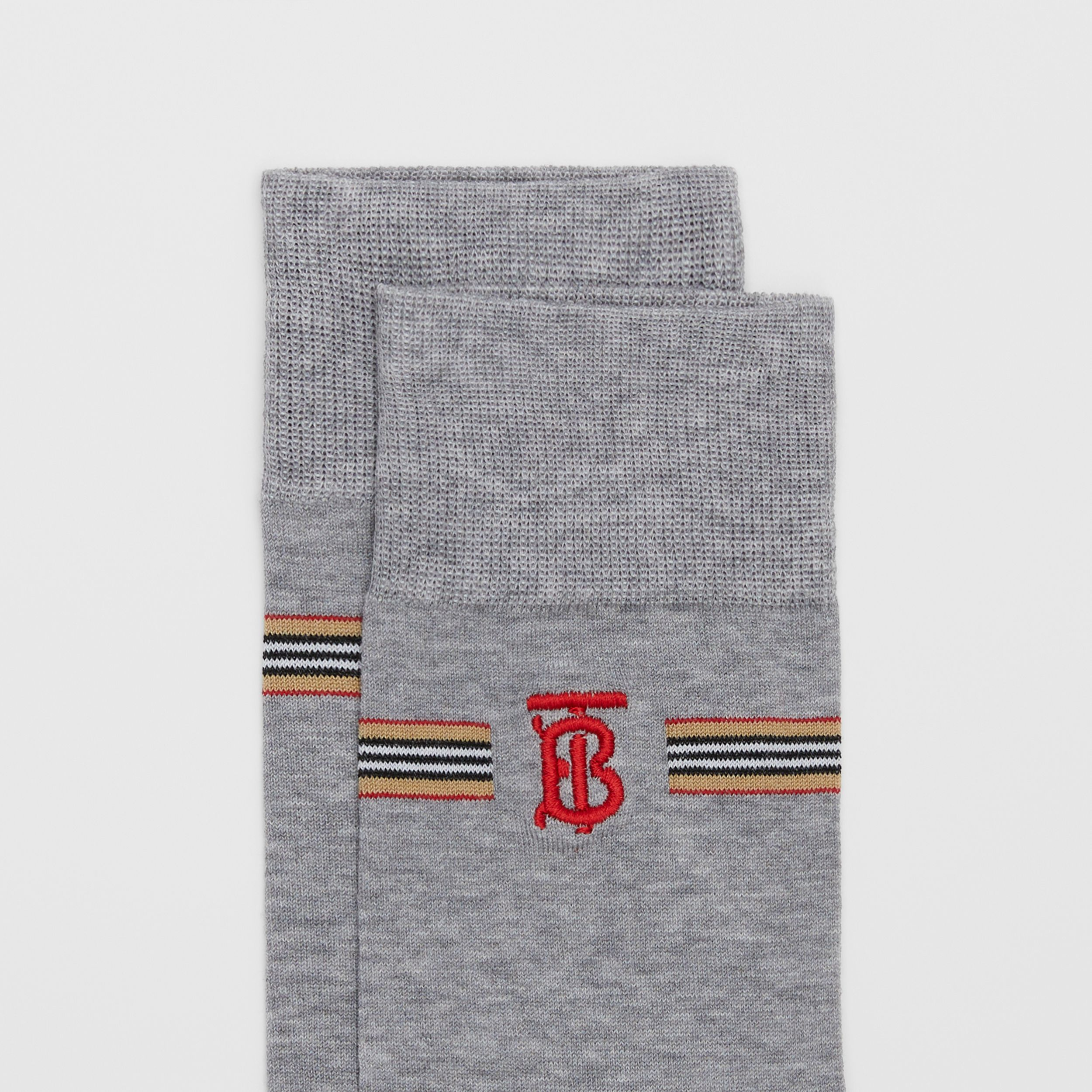 Icon Stripe and Monogram Motif Cotton Blend Socks in Grey Melange | Burberry - 2