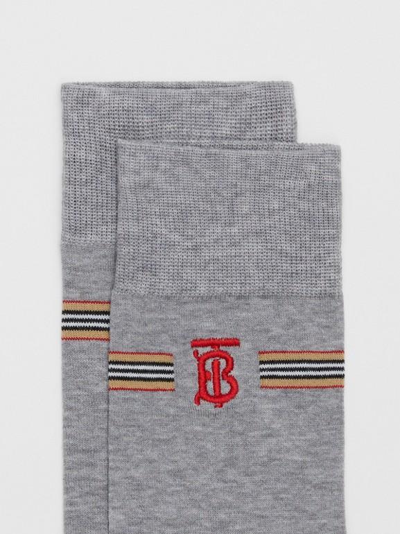 Icon Stripe and Monogram Motif Cotton Blend Socks in Grey Melange   Burberry United Kingdom - cell image 1