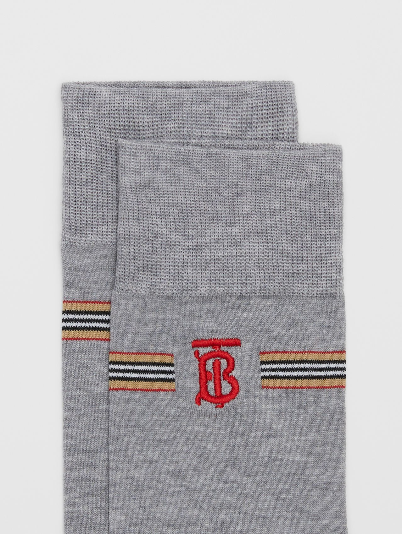 Icon Stripe and Monogram Motif Cotton Blend Socks in Grey Melange