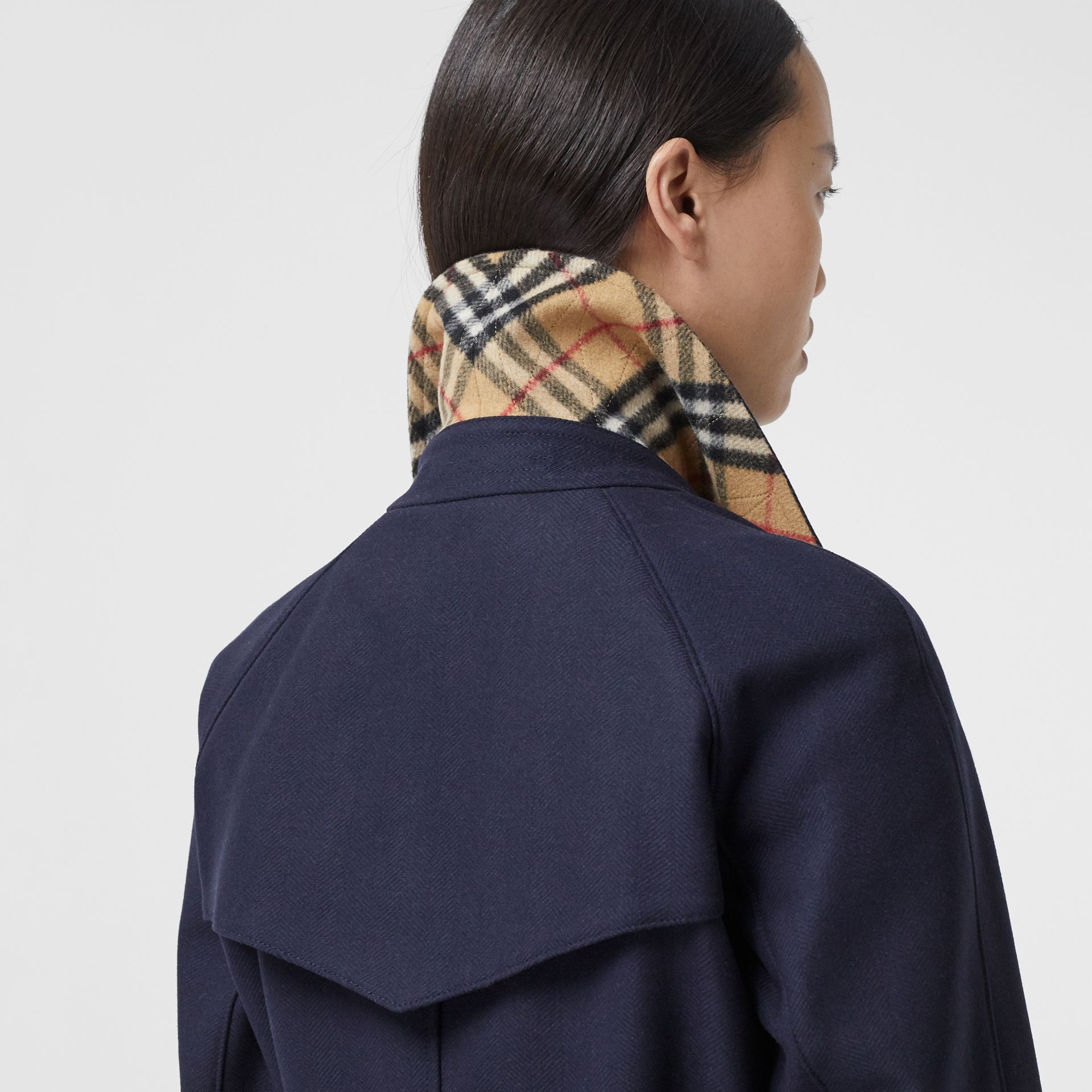 Herringbone Wool Cashmere Blend Trench Coat in Navy - Women | Burberry - gallery image 4