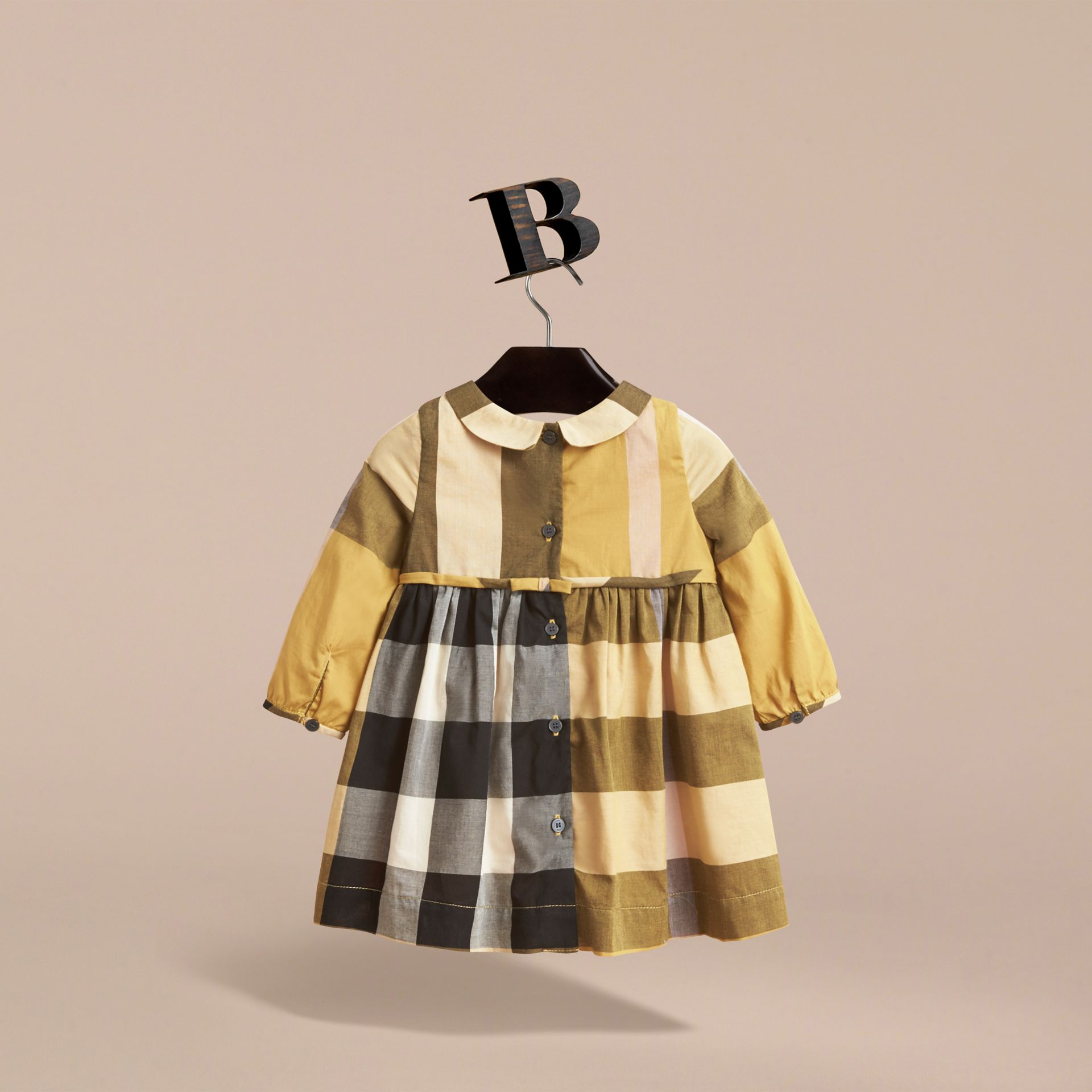 Long-sleeve Check Pintuck Bib Cotton Dress in Yellow Quartz | Burberry - gallery image 4