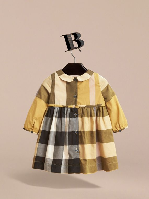 Long-sleeve Check Pintuck Bib Cotton Dress in Yellow Quartz | Burberry - cell image 3
