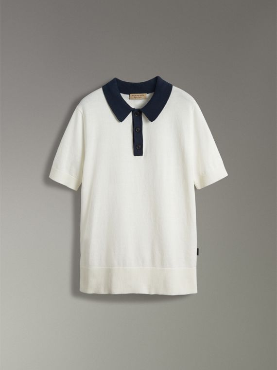 Two-tone Knitted Cotton Polo Shirt in Natural White - Men | Burberry Australia - cell image 3