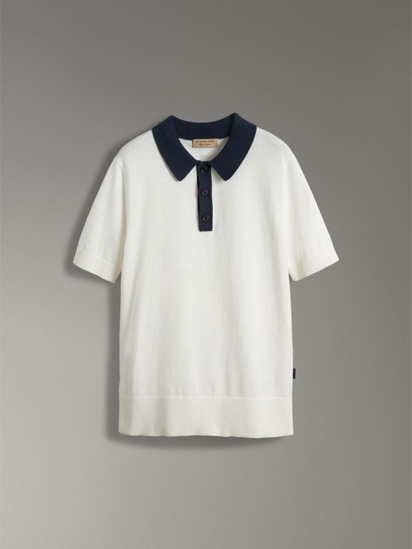 Two-tone Knitted Cotton Polo Shirt in Natural White - Men | Burberry - cell image 3