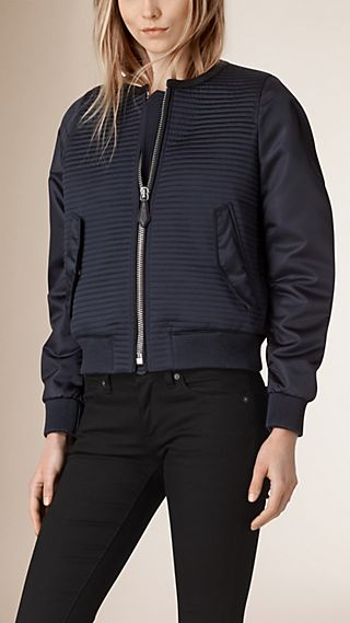 Leather Trim Quilted Bomber Jacket
