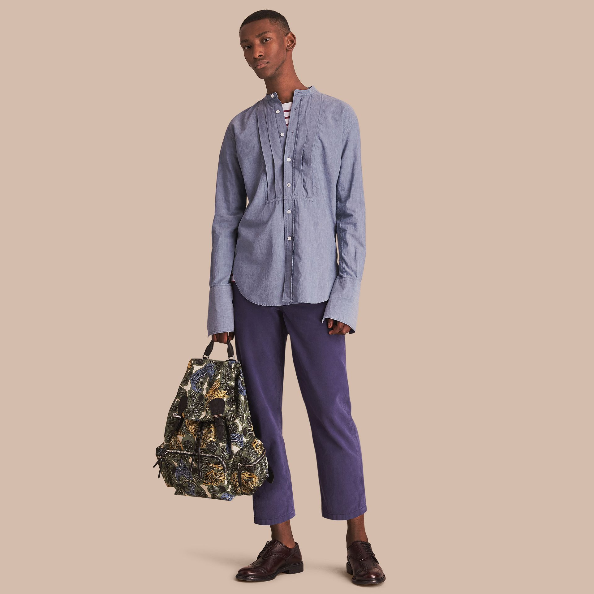 Grandad Collar Pleated Bib Cotton Shirt - gallery image 1