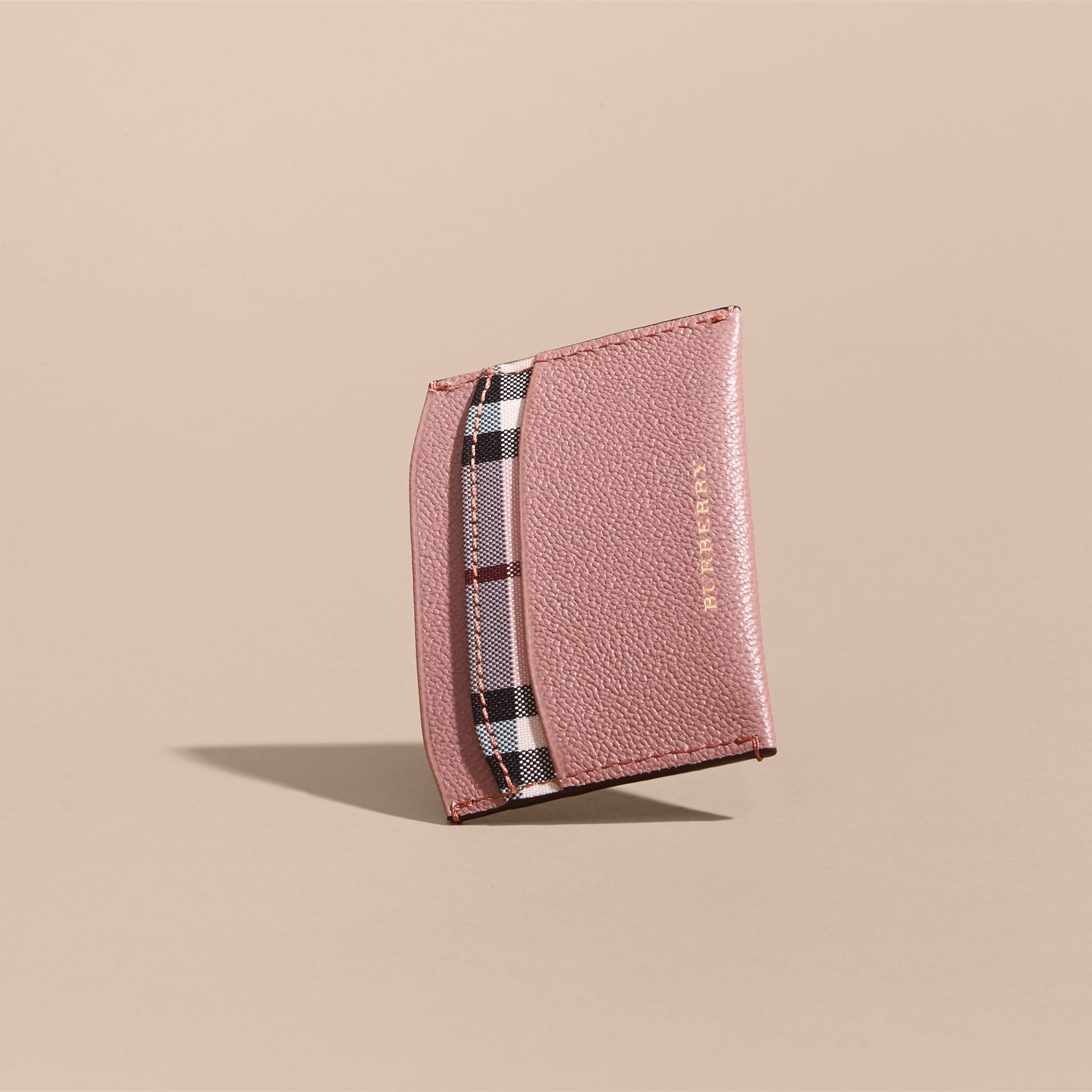 Check and Leather Card Case Ash Rose/ Dusty Pink - gallery image 4