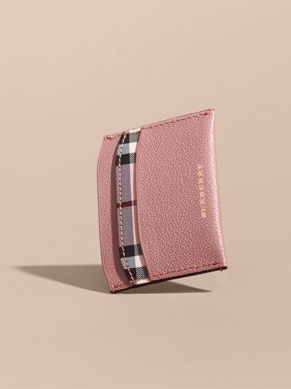 Check and Leather Card Case Ash Rose/ Dusty Pink - cell image 3