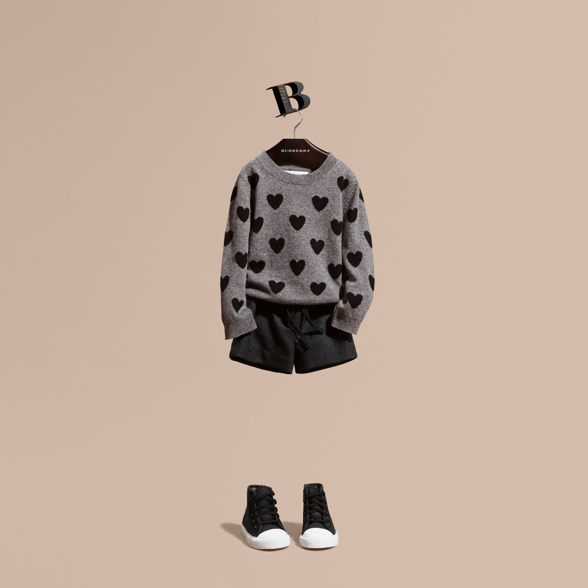 Preto Suéter de lã e cashmere com corações em ponto de tricô intársia - galeria de imagens 1