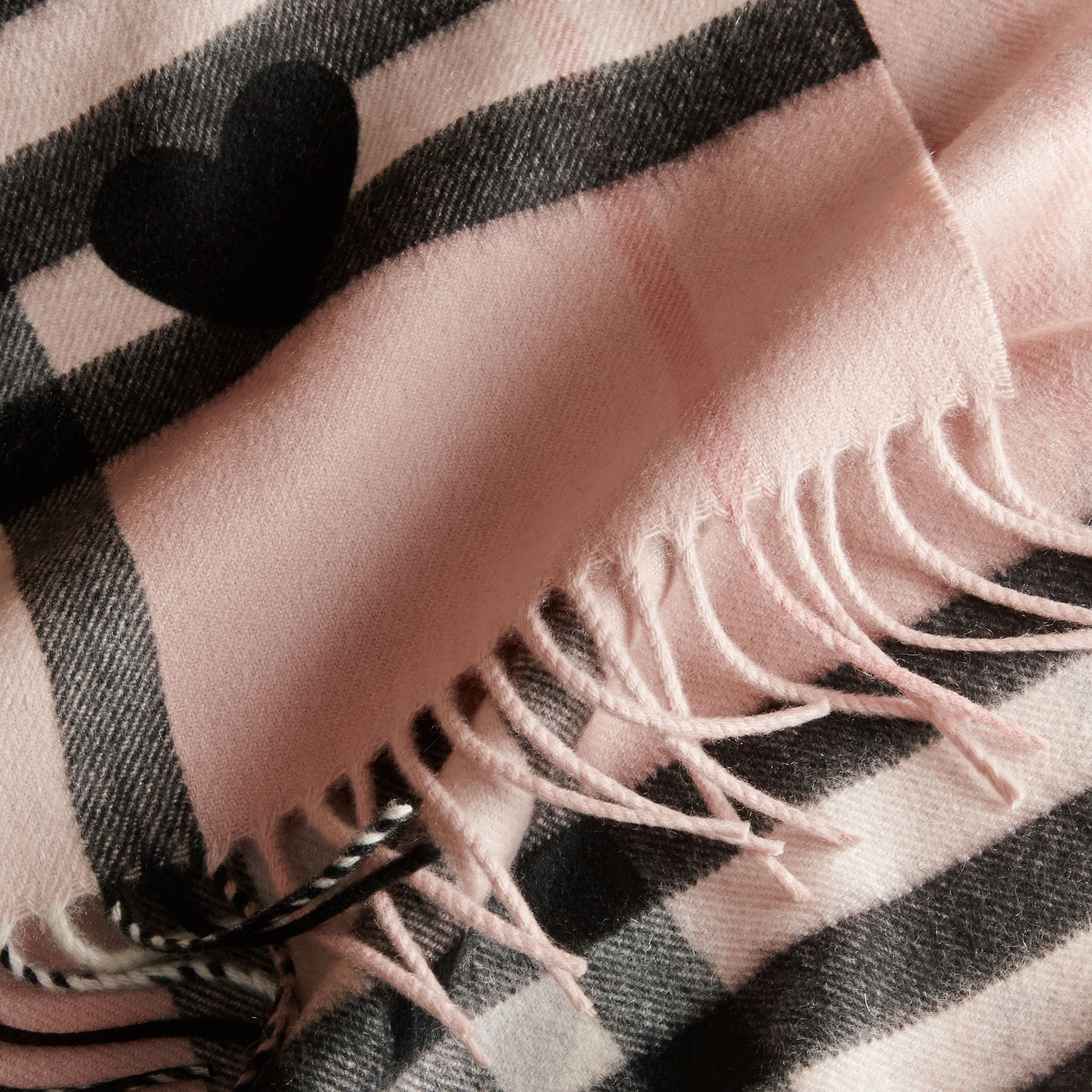 The Classic Cashmere Scarf in Check and Hearts Rose/black - gallery image 5
