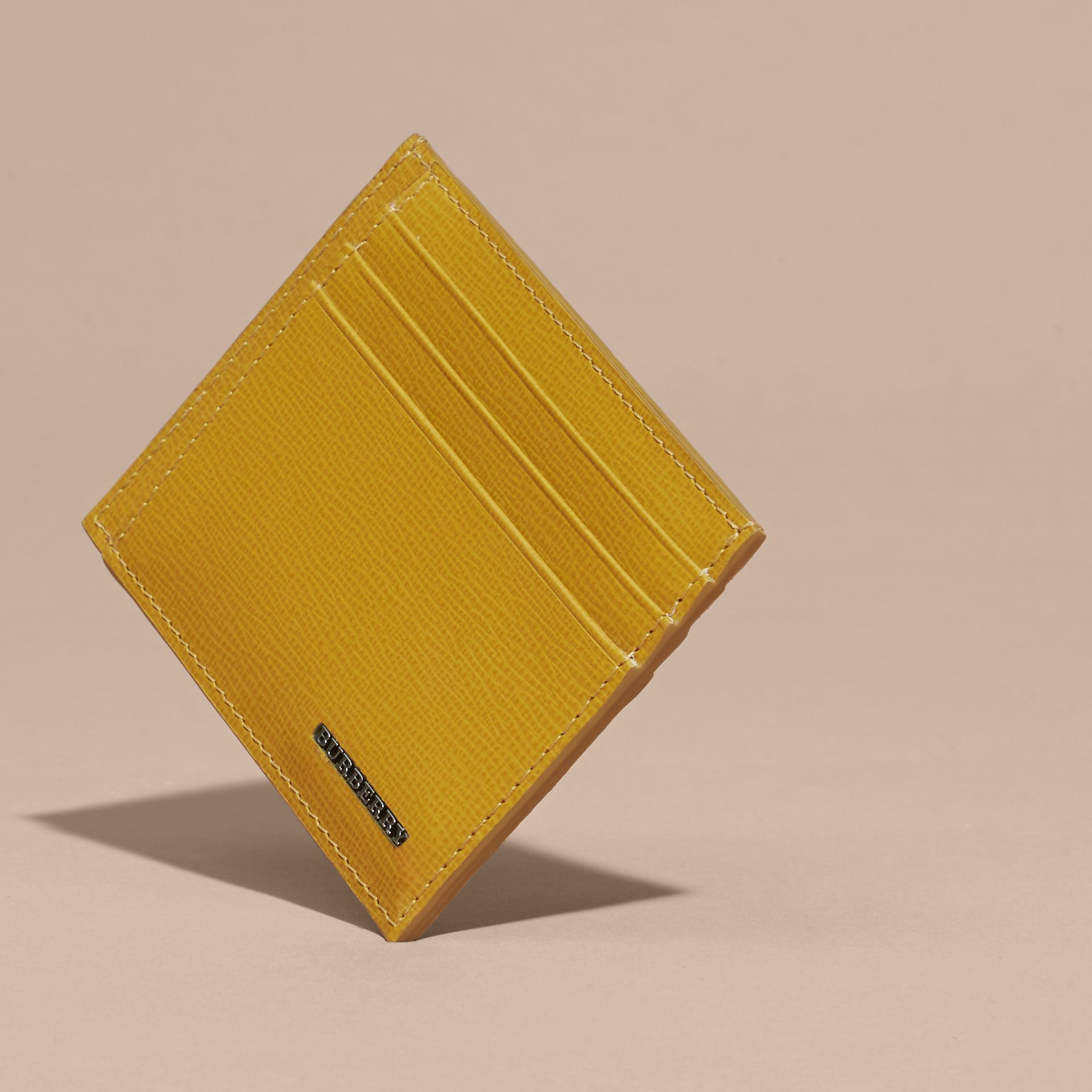 London Leather Card Case Larch Yellow - gallery image 5