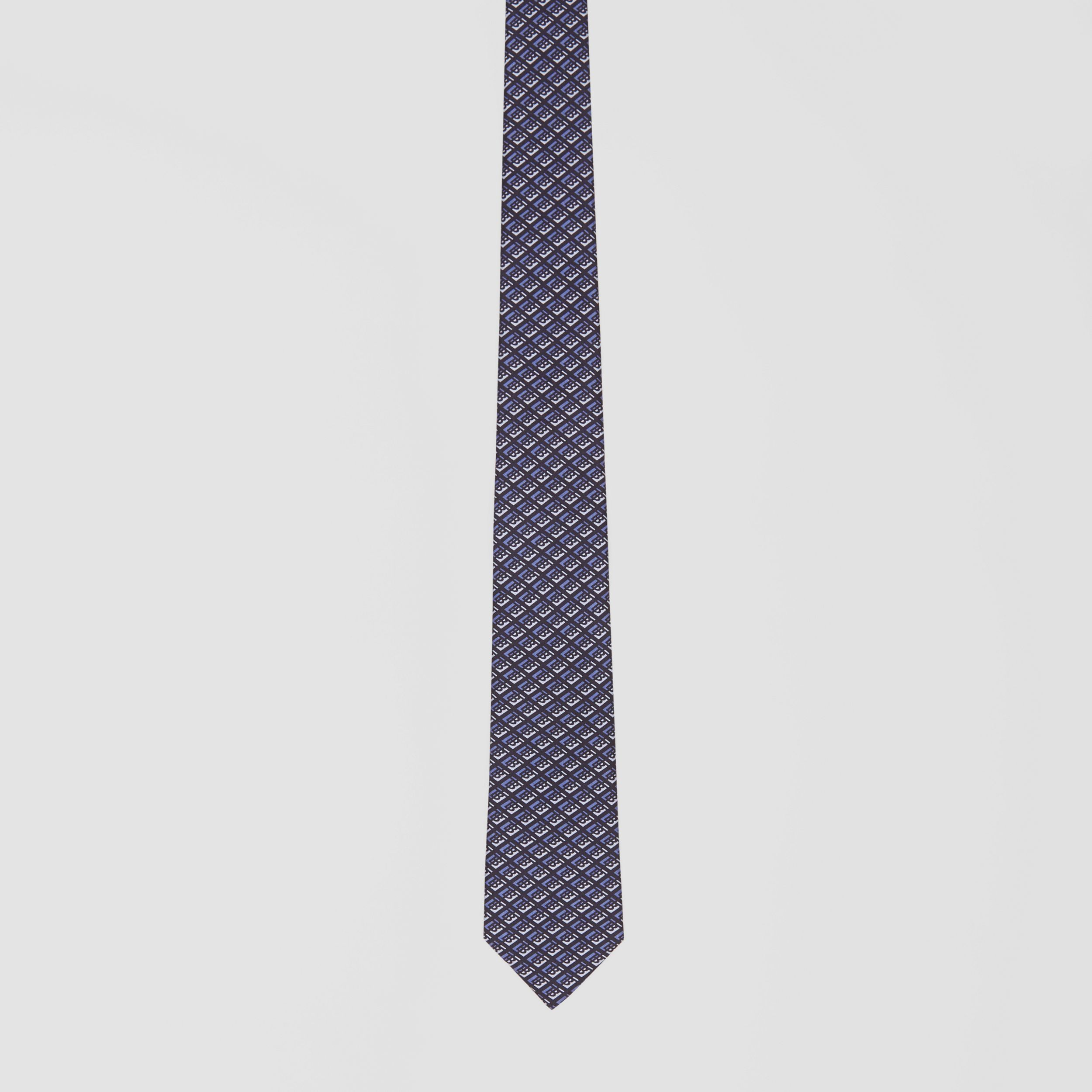 Classic Cut Logo Graphic Silk Tie in Pebble Blue - Men | Burberry - 4