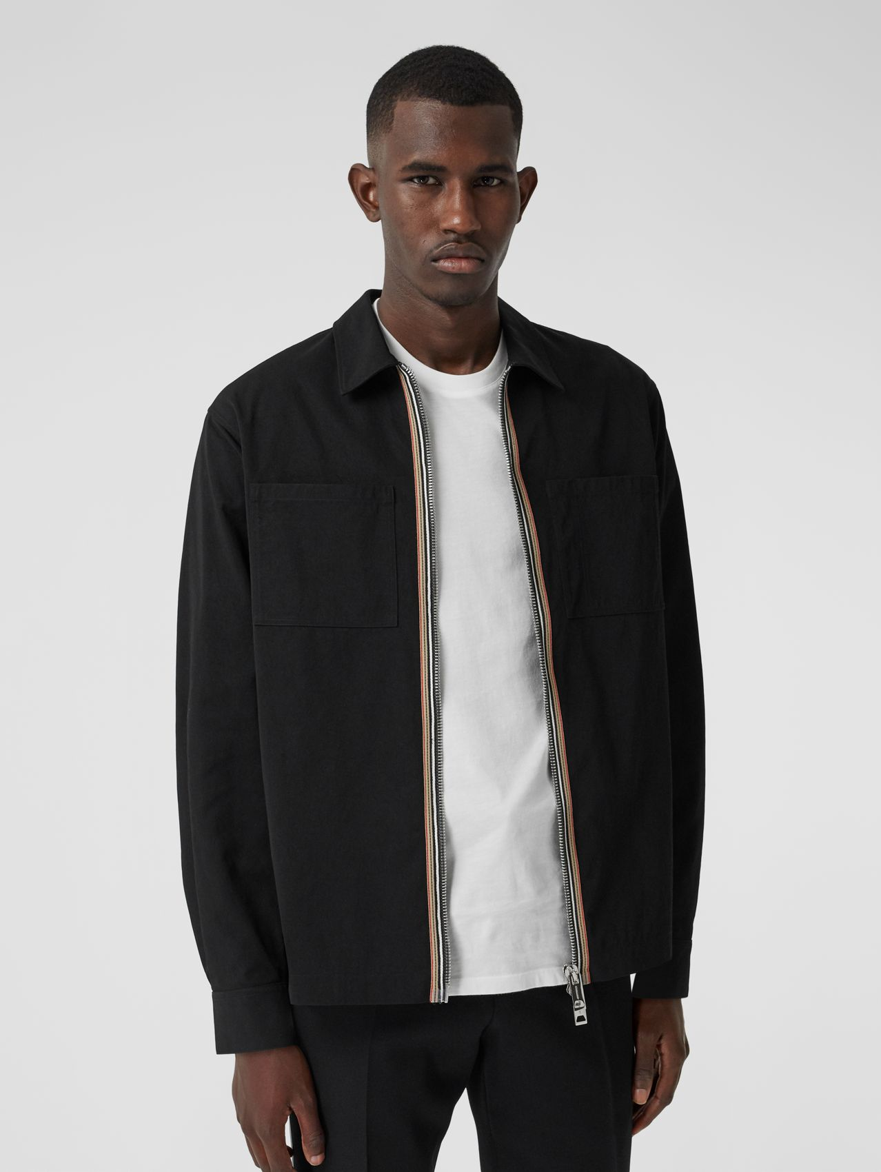Stripe Detail Technical Twill Zip-front Shirt in Black