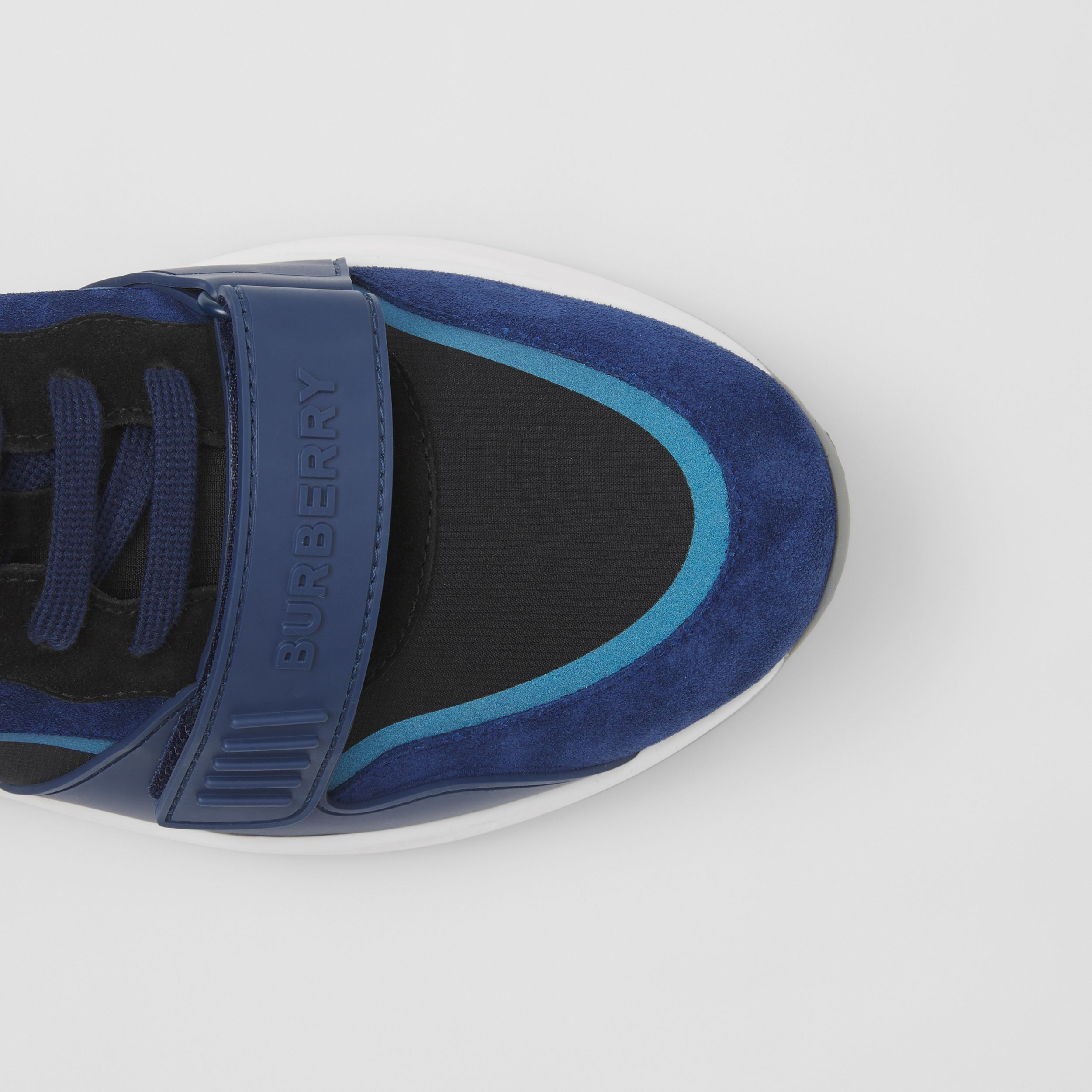 Suede and Leather Sneakers in White/blue/black - Men | Burberry Hong Kong S.A.R. - 2