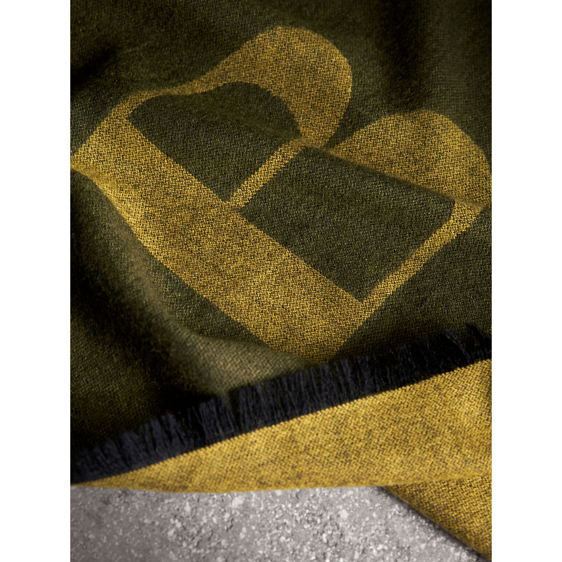 Graphic Print Motif Cashmere Wrap in Olive - Women | Burberry - gallery image 2