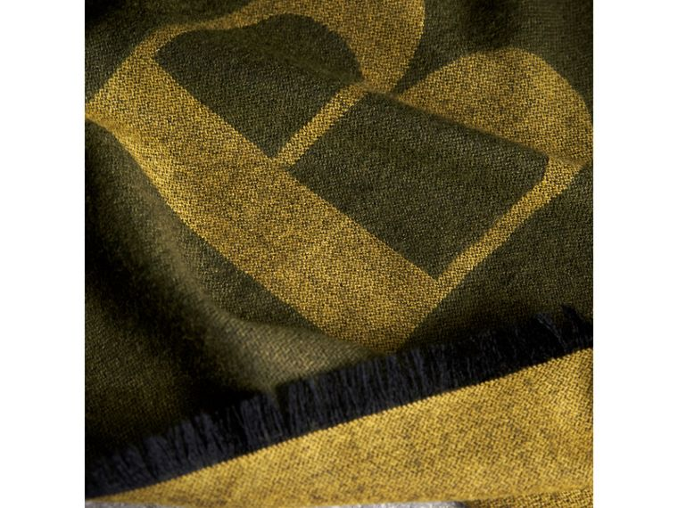 Graphic Print Motif Cashmere Wrap in Olive - Women | Burberry - cell image 1