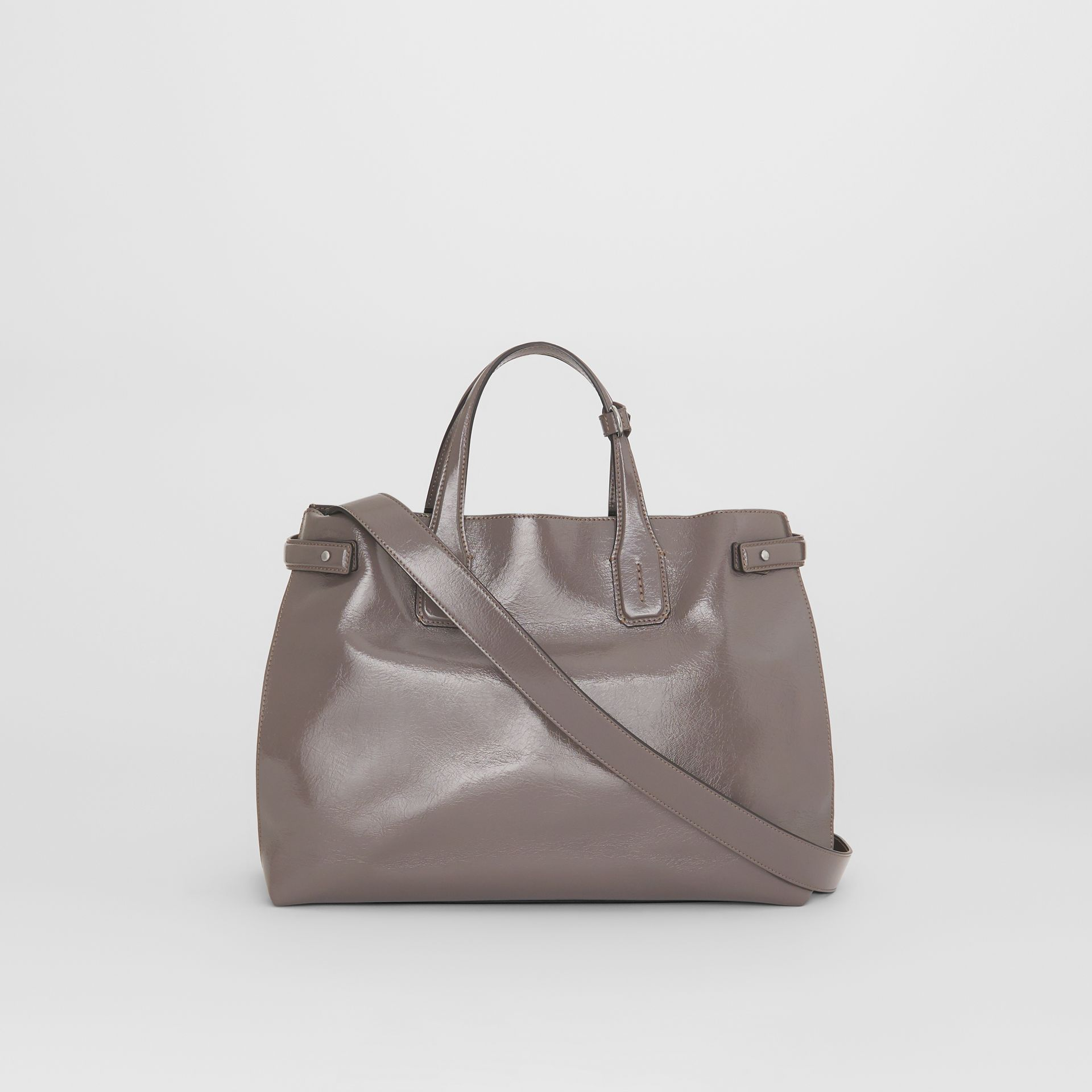 The Medium Soft Leather Banner in Sepia Grey - Women | Burberry - gallery image 7
