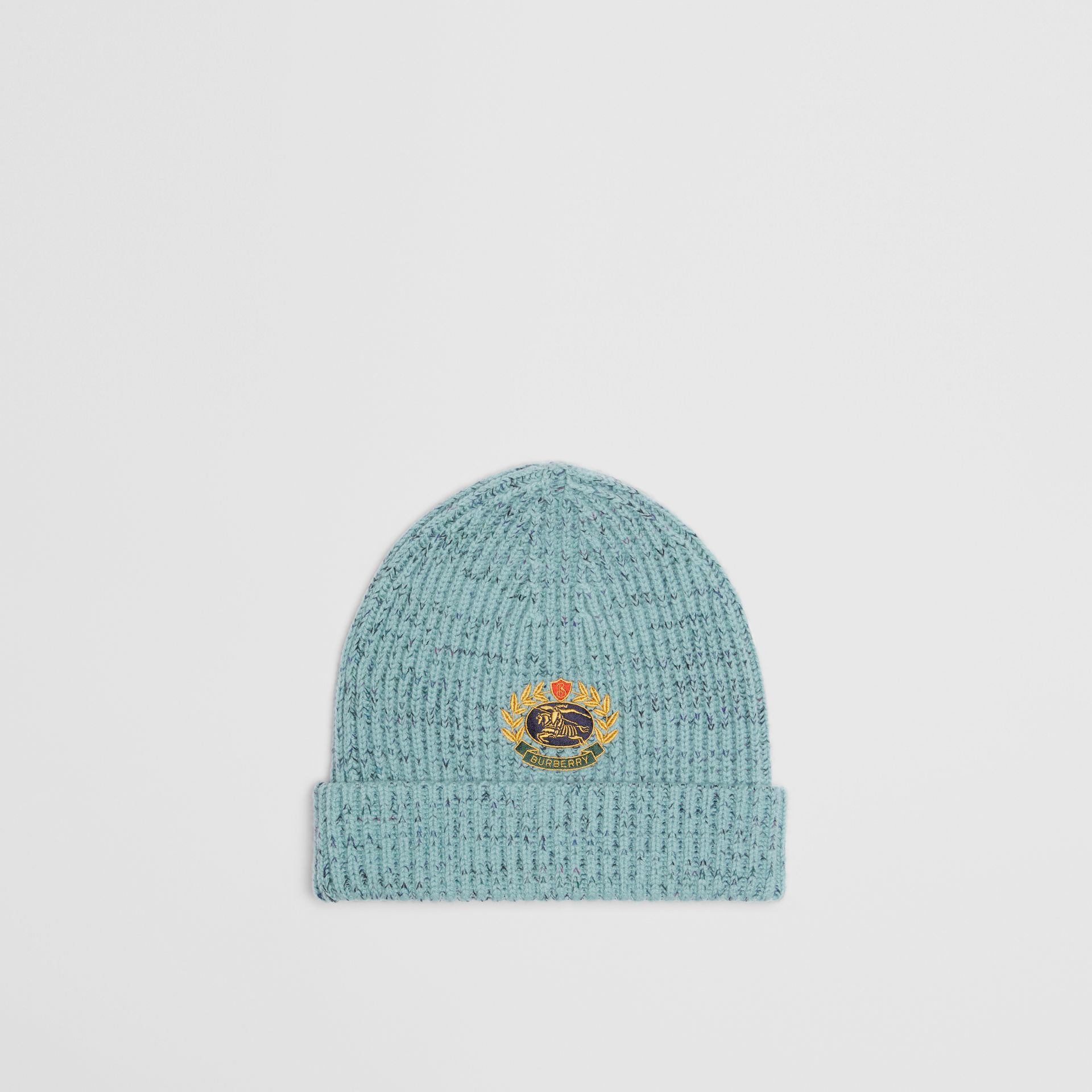 Embroidered Archive Logo Wool Blend Beanie in Blue Topaz | Burberry United Kingdom - gallery image 0