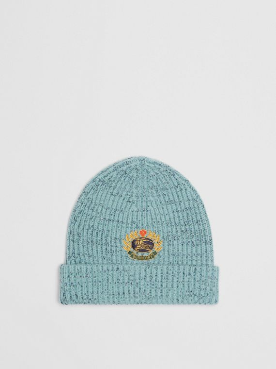 Embroidered Archive Logo Wool Blend Beanie in Blue Topaz