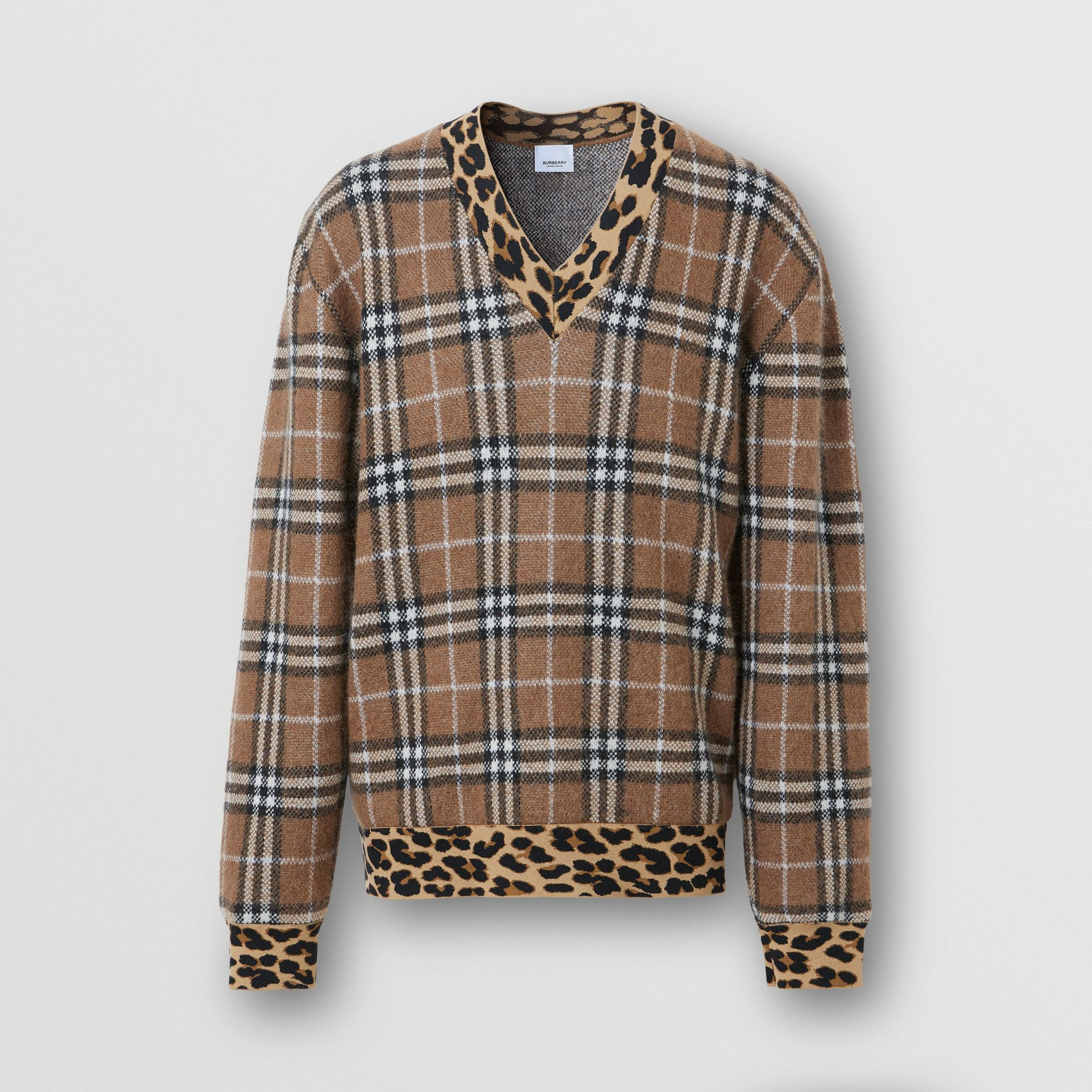 Leopard Detail Vintage Check Cashmere Blend Sweater in Warm Walnut - Men | Burberry - gallery image 3