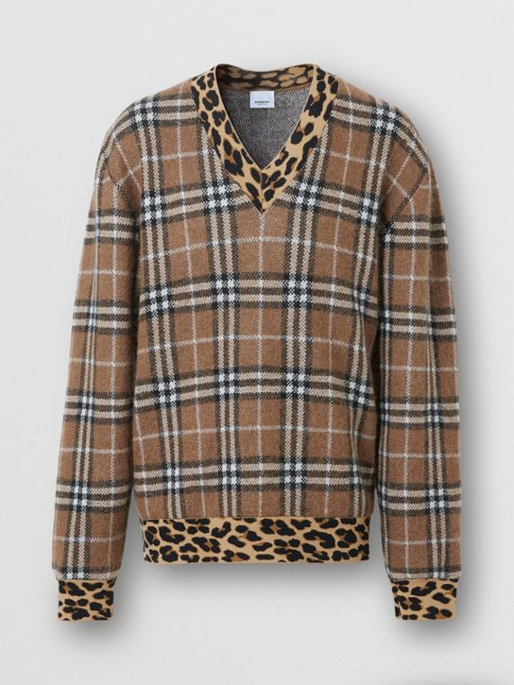 Leopard Detail Vintage Check Cashmere Blend Sweater in Warm Walnut