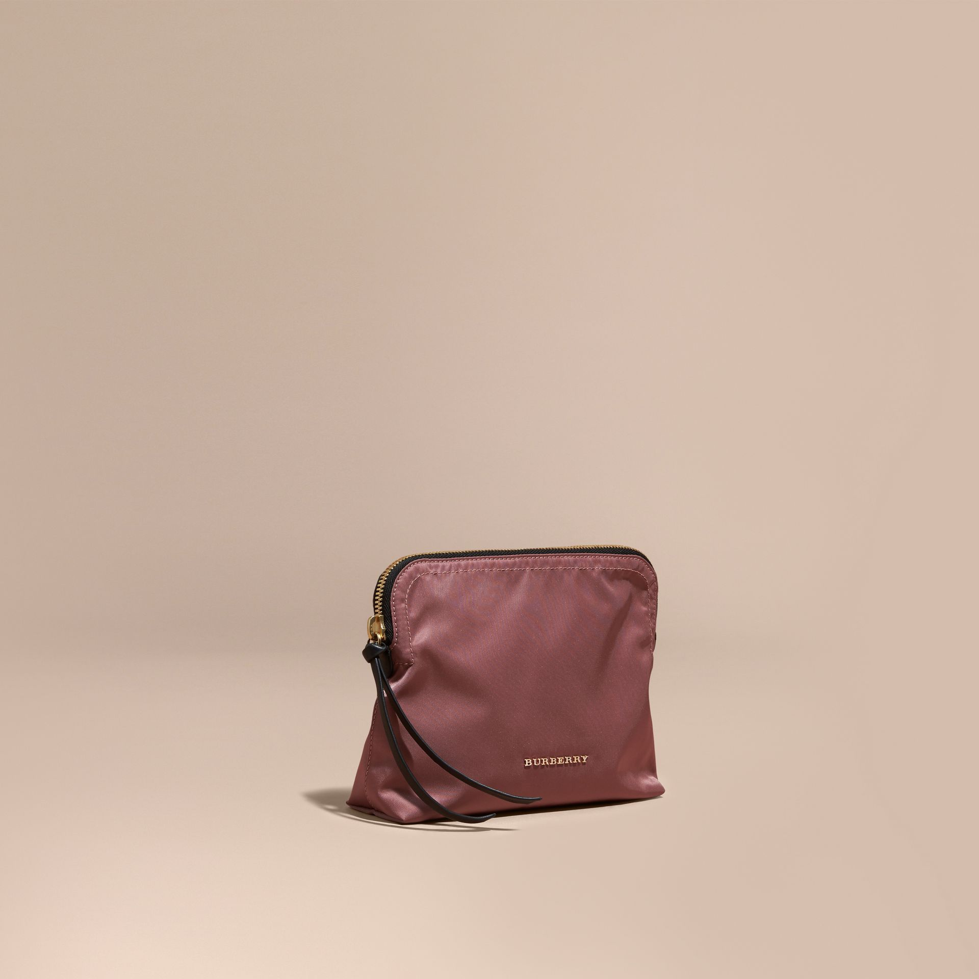 Large Zip-top Technical Nylon Pouch Mauve Pink - gallery image 1