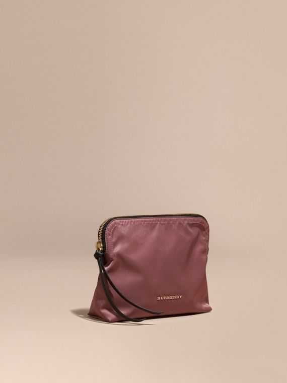 Large Zip-top Technical Nylon Pouch Mauve Pink