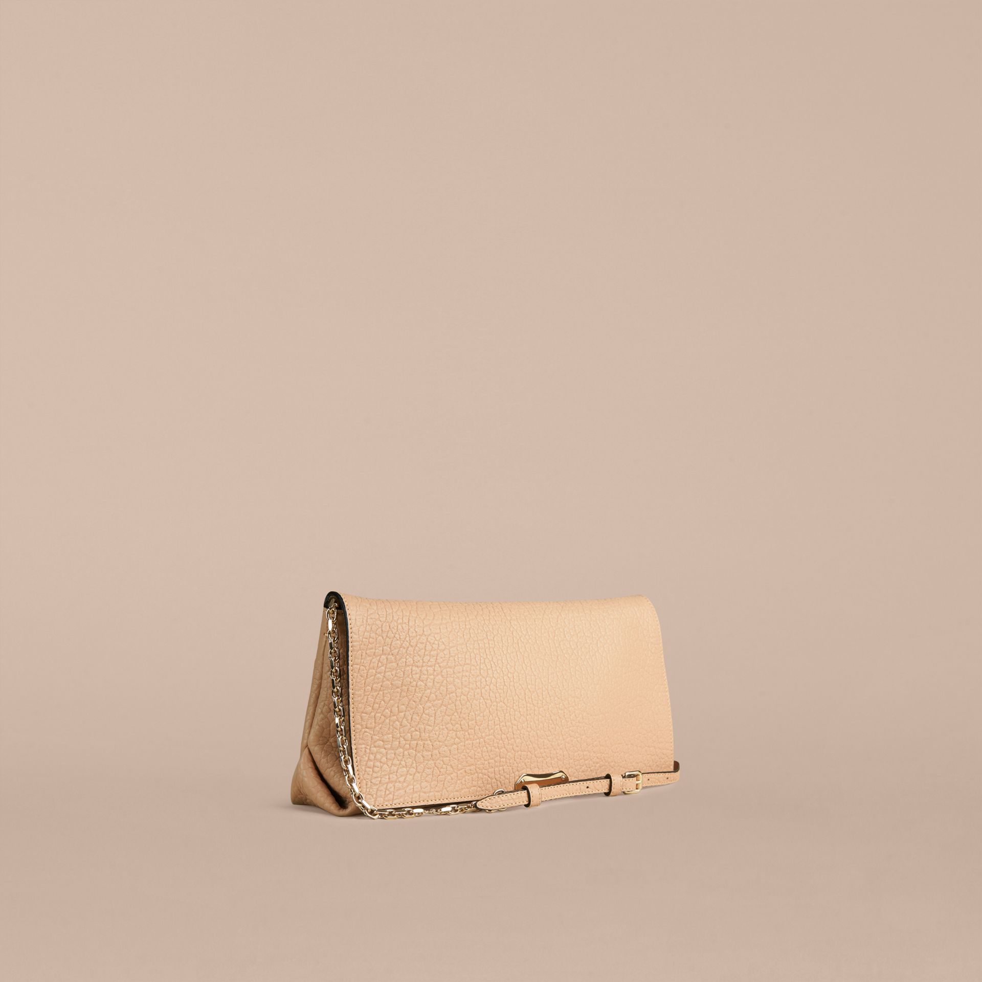 Pale apricot Medium Signature Grain Leather Clutch Bag Pale Apricot - gallery image 1