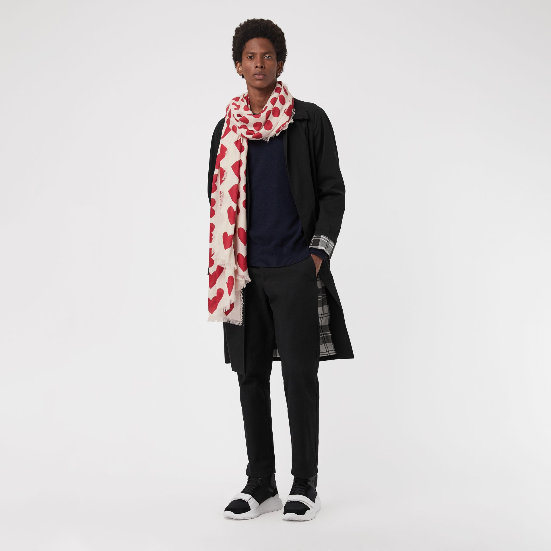 Heart and Spot Wool Silk Blend Jacquard Scarf in Windsor Red | Burberry United Kingdom - gallery image 3