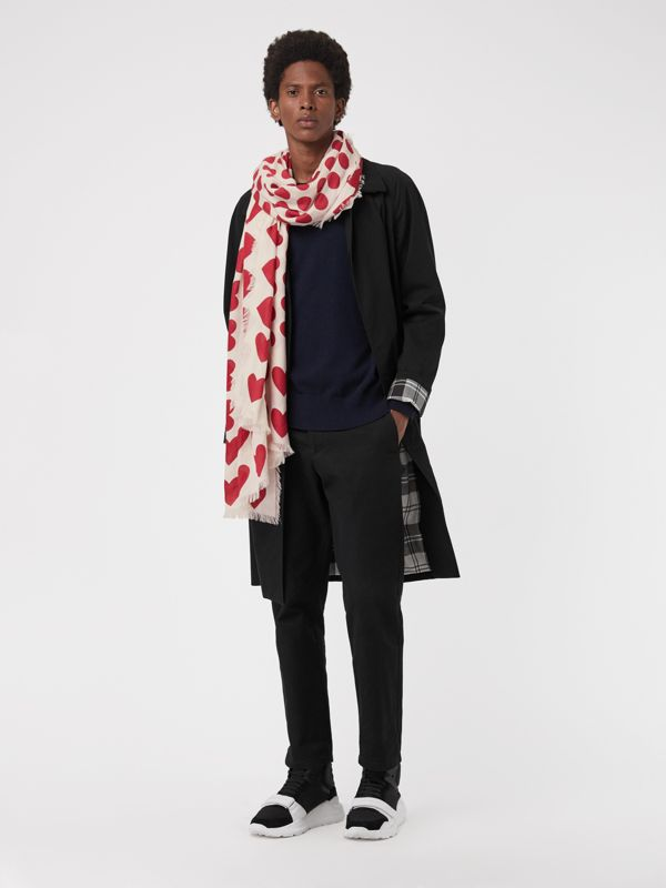 Heart and Spot Wool Silk Blend Jacquard Scarf in Windsor Red | Burberry - cell image 3