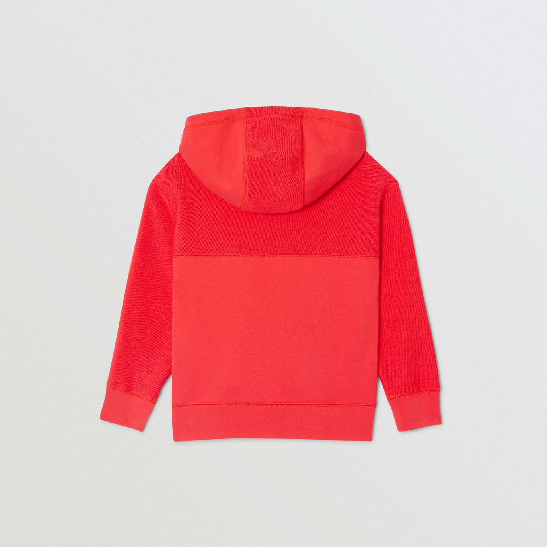 Logo Graphic Cotton Hooded Top in Bright Red | Burberry - gallery image 3