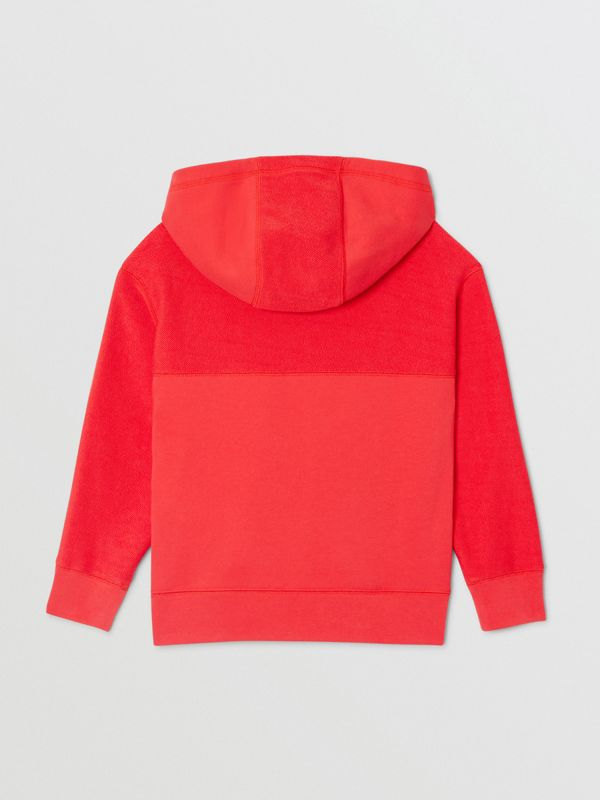 Logo Graphic Cotton Hooded Top in Bright Red | Burberry - cell image 3