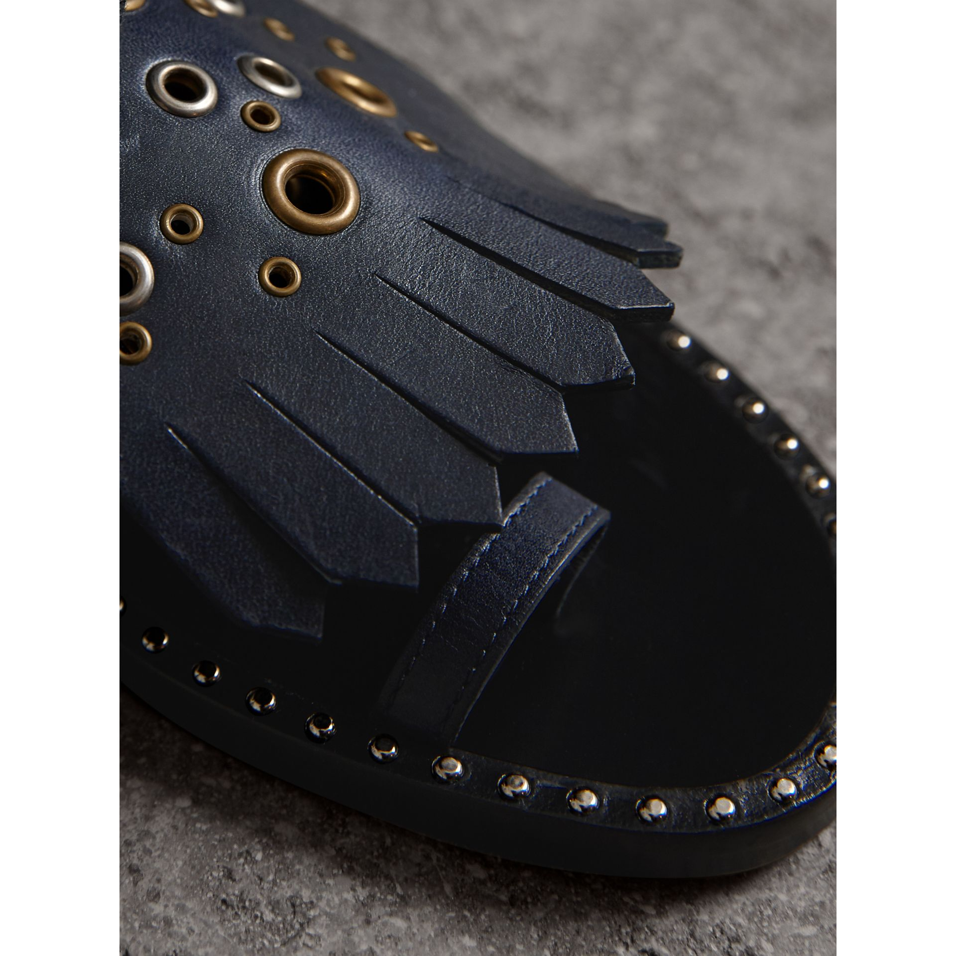 Kiltie Fringe Leather Sandals in Navy - Women | Burberry Canada - gallery image 1