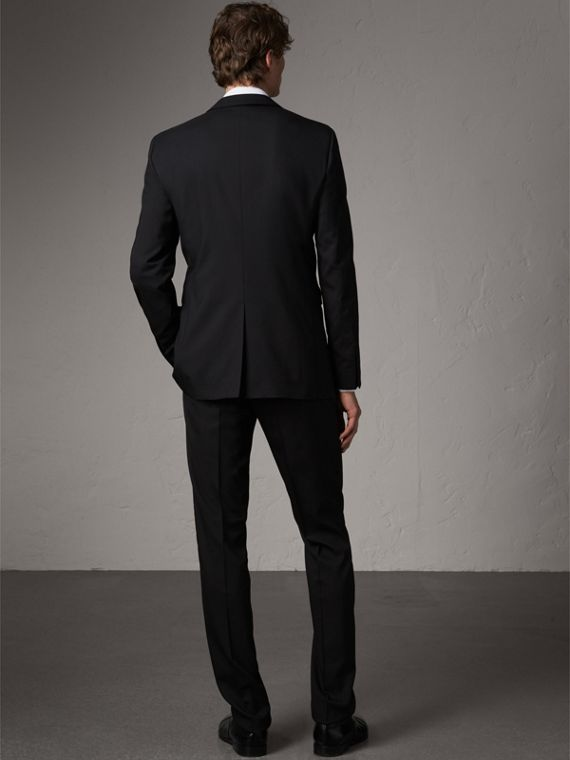Modern Fit Wool Part-canvas Suit in Black - Men | Burberry United Kingdom - cell image 2