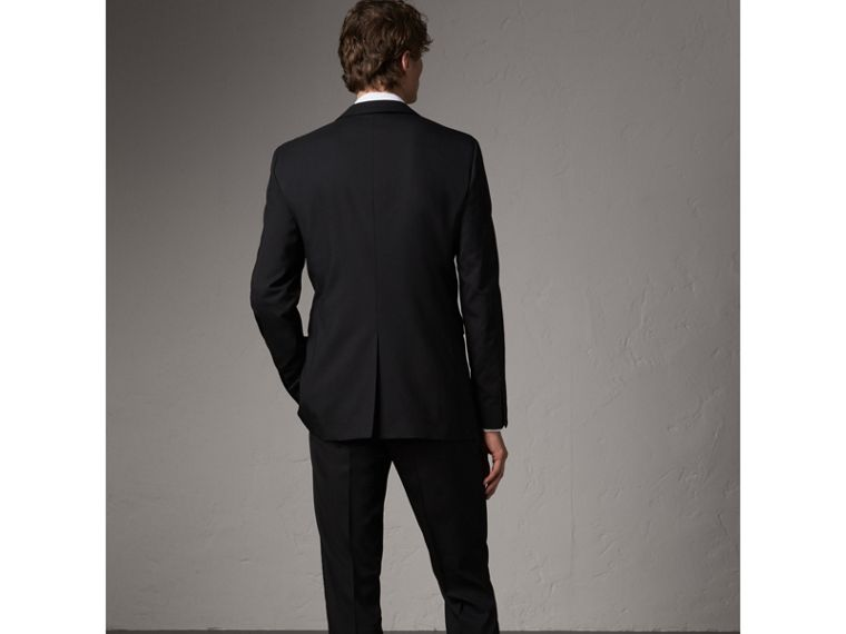 Modern Fit Wool Part-canvas Suit in Black - Men | Burberry - cell image 1