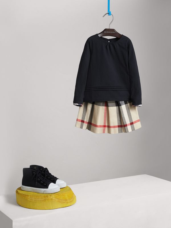 Long-sleeve Pleat and Check Detail Cotton T-shirt in Navy - Girl | Burberry United States - cell image 2