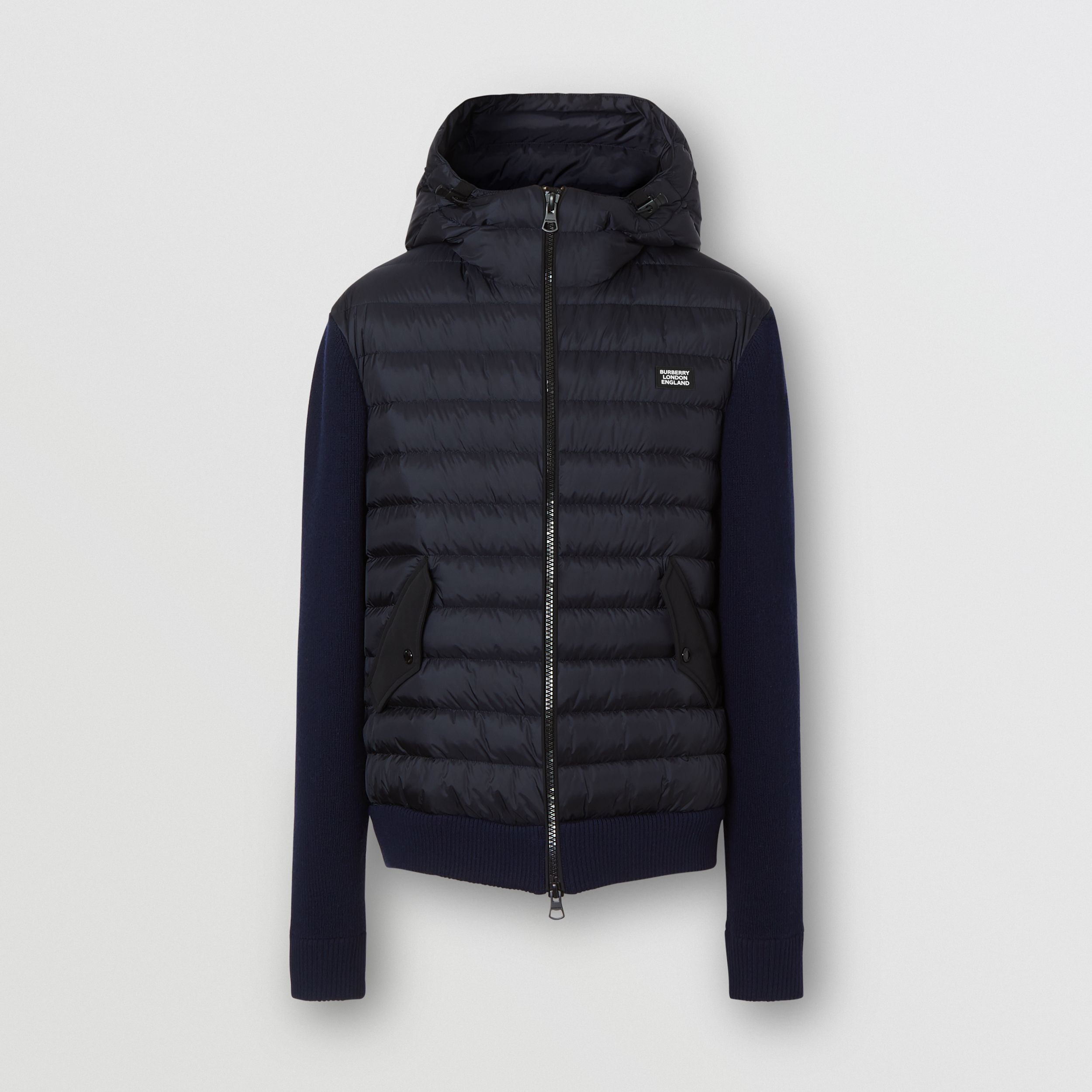 Puffer Detail Technical Knit Hooded Jacket in Navy - Men | Burberry - 4
